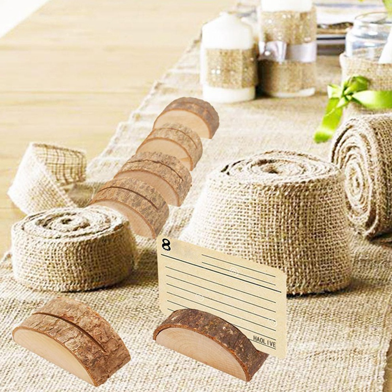 60Pcs Rustic Wood Table Numbers Holder Wood Place Card Holder Party Wedding Table Name Card Holder Memo Note Card