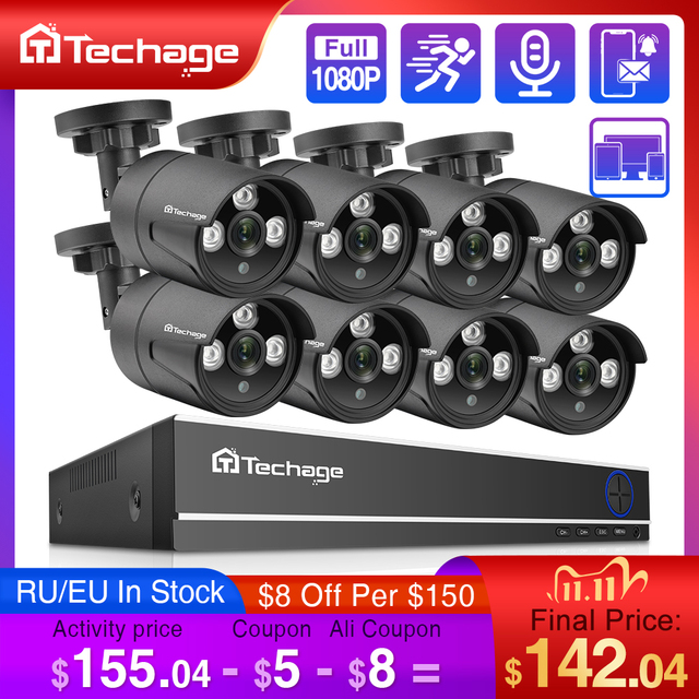 Techage 8CH 1080P HD DVR Bộ CAMERA QUAN SÁT An Ninh Hệ Thống 8 CÁI 2MP HỒNG NGOẠI Ngoài Trời Chống Nước AHD P2P Video giám sát Bộ HDD 2TB