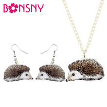 Bonsny Acrylic Jewelry Sets Anime Hedgehog Necklace Earrings Fashion Animal Pendant For Children Charms Girls Gift Accessories(China)