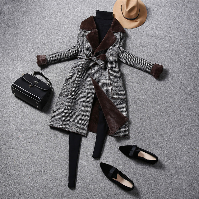 Fashion Vintage Plaid Wool Coat  5