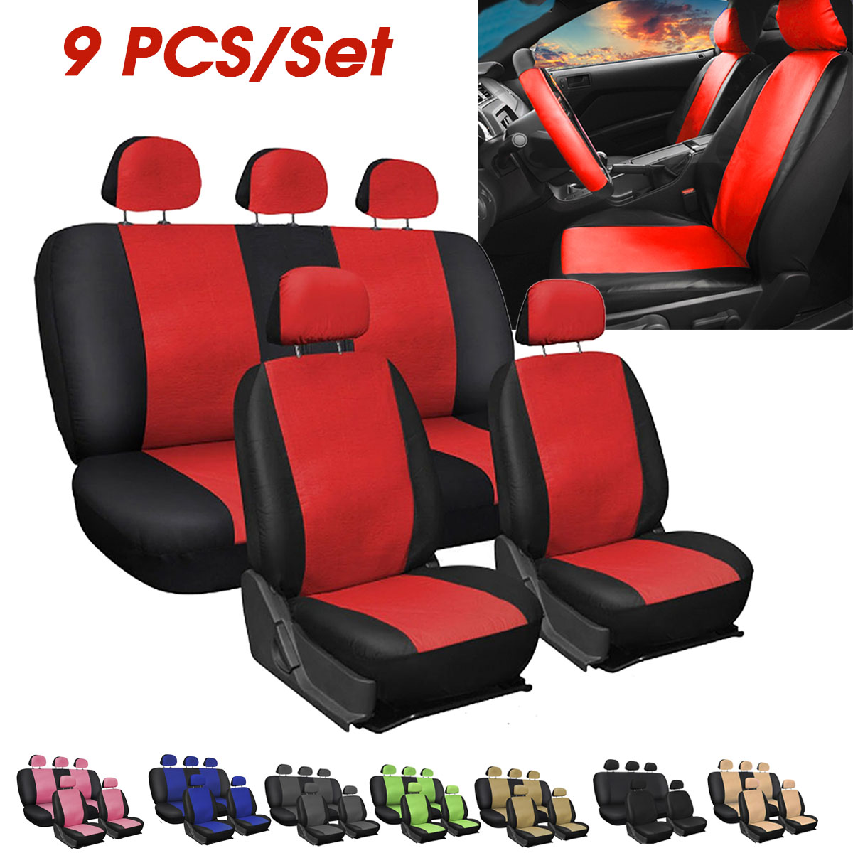 2x Sports Look Grey Front Car Seat Covers Quality Leather Look Protectors