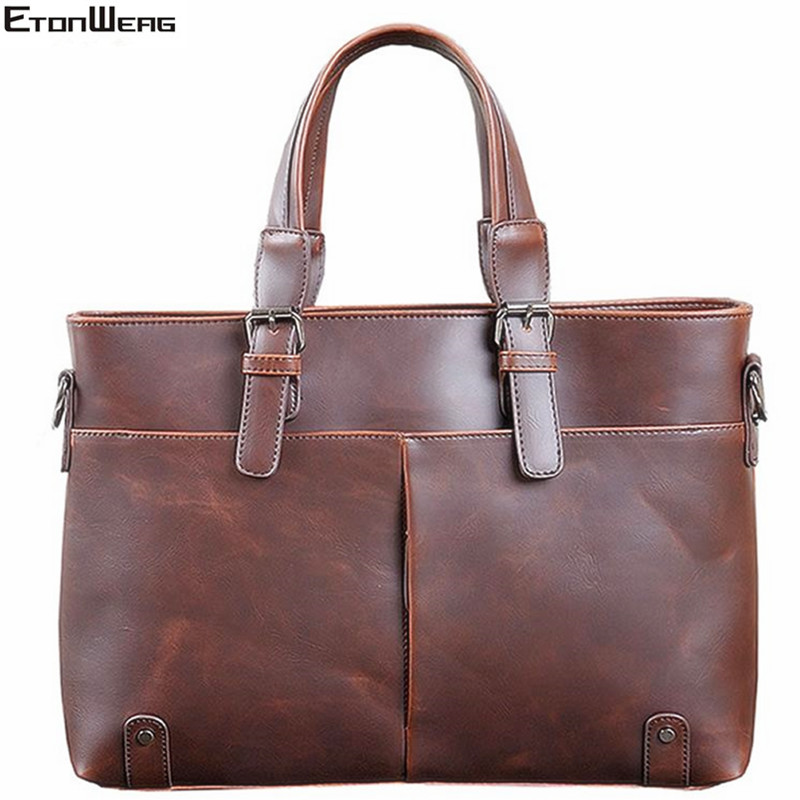 Men's Vintage Briefcase Luxury Brand PU Leather Tote Business Office Shoulder Bag Computer Laptop Bag Male Large Casual Handbag