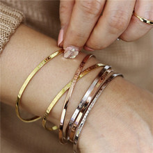 Modyle Stainless Steel Cuff Bracelet Bangle For Women Rose Gold Silver Color Mantra Bracelets Gifts