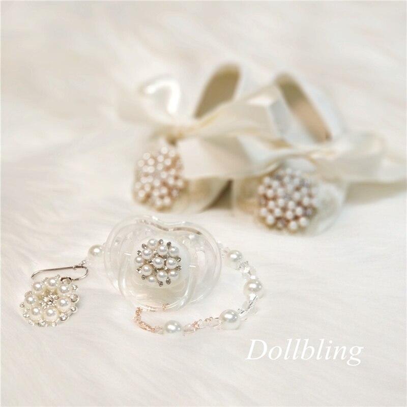 Dolldling Baby Shoes Ivory Lace Vintage Luxury Pealrs Charm Baby Girl Shoe Wedding Handmade Sweet Princess Infant 0-1 ShoesCusto