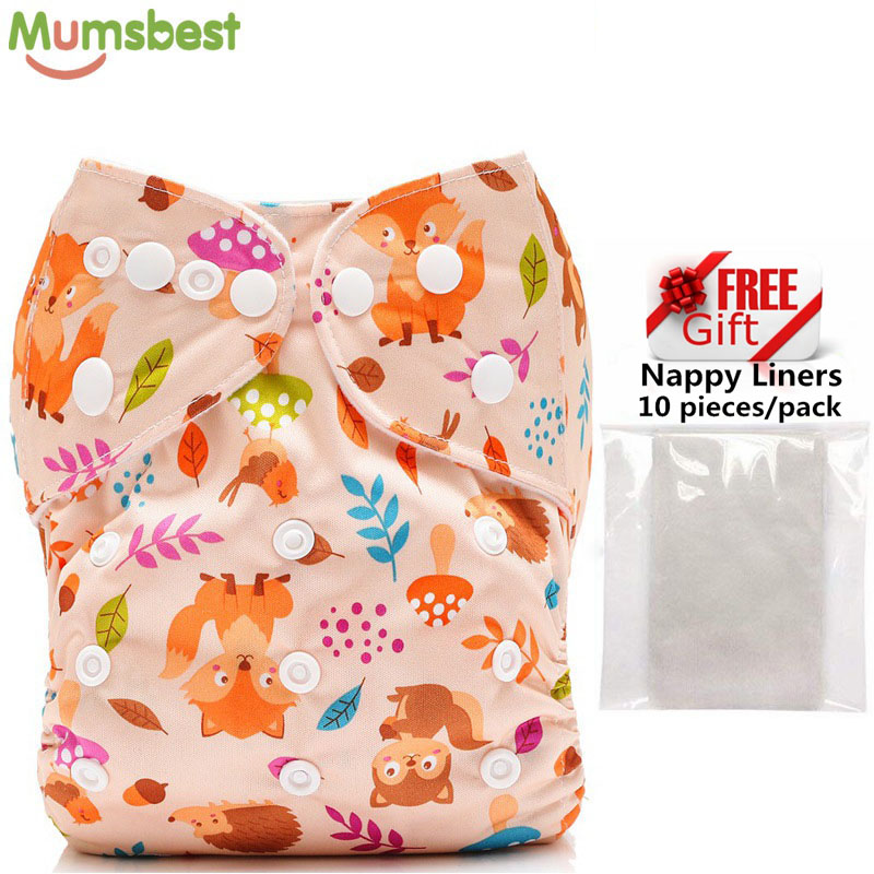 [Mumsbest] 1PC Baby Cloth Nappy With 1 PC Microfiber Insert Baby Washable Diapers Pocket Reusable Cloth Nappies