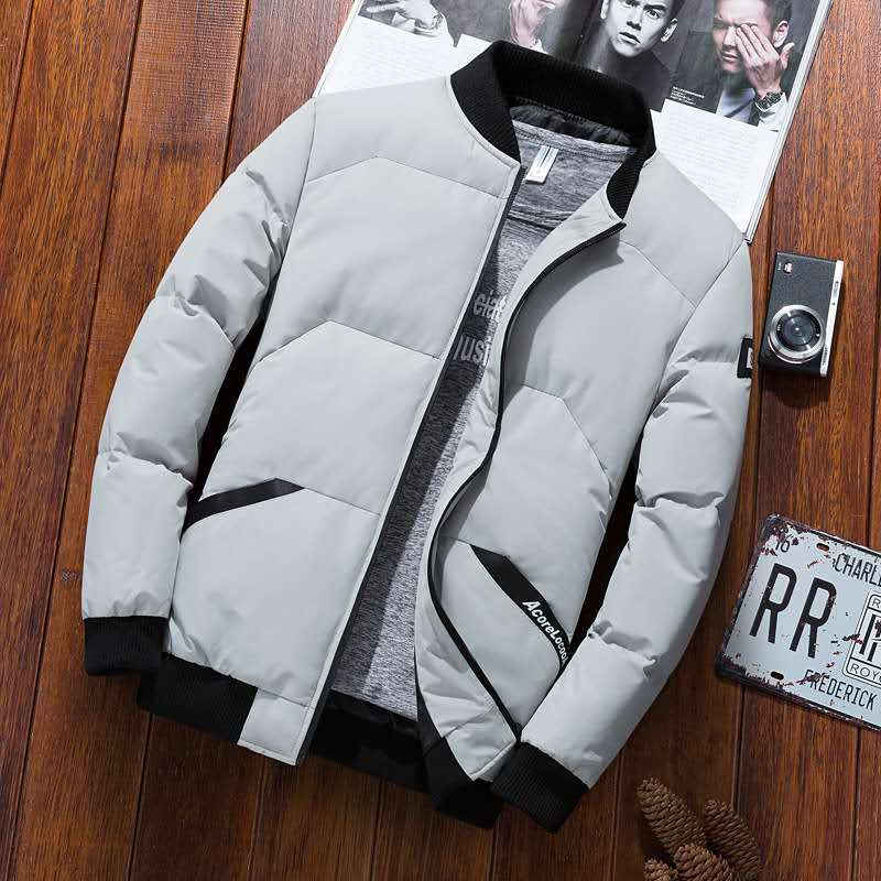 The new 2020 baseball collar padded monogrammed down jacket plus size casual flying jacket high quality zipper jacket for men4XL