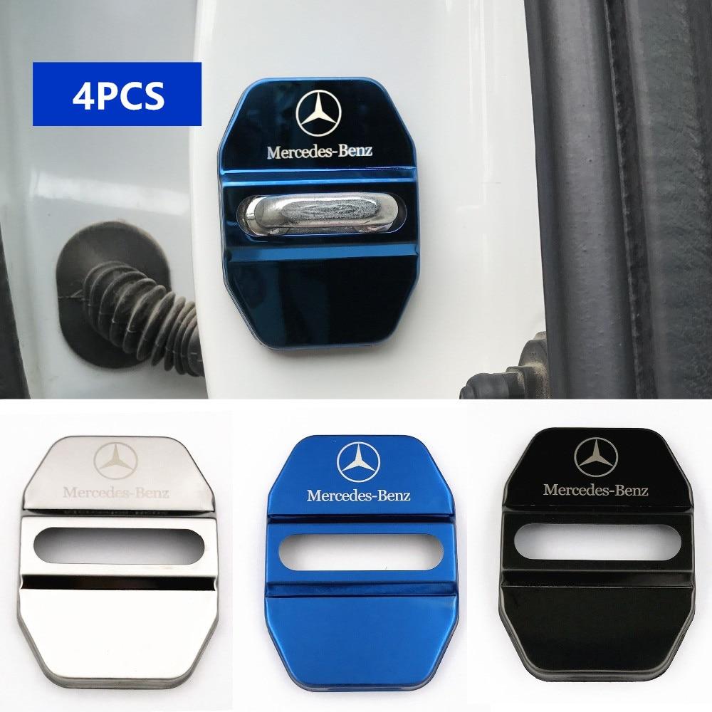 4pcs Door Lock Decoration Protection Cover Emblem Case For Mercedes Benz A B R G Class GLK GLA W204 W251 W463 W176 Accessories