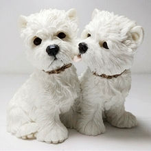 JJM 2 sztuk West Highland White Terrier pary pies zwierzę rysunek zwierząt kolektor zabawki Model z pcv lalki EducationalToy dla ChildrenGift tanie tanio Dla dorosłych Length 9 5 cm Width 7 cm Height 9 cm Resin