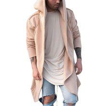 CYSINCOS New Mens Unisex Casual Cardigan Hooded Long Cloak Cape Coat Cosplay Loose Jacket Hoodies Sweatshirt Jackets