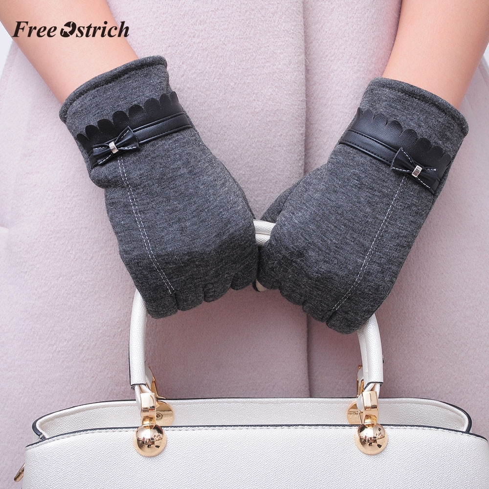 Free Ostrich Womens Full Finger Gloves Mittens Bowknot Warm Winter Elegant Lady Gloves Solid Smartphone Touch Screen Gloves #O