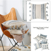 Gray Cushion Cover Pillowcase Tufted Indian Handmade Tassel Neutral Decorative Sofa Seat Car Home Sofa Bedding 45x45cm 30x50cm