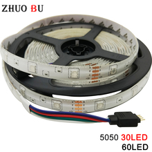 цена на SMD 5m DC 12V 5050 RGB led strip light led light tape diode RGB ribbon waterproof strip no power no controller