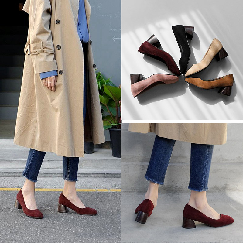 EOEODOIT Women Shoes Spring Square Toe Pumps Med Chunky Heel Flock Casual Fashion Daily Shoes Office Lady OL Work Heels Pumps