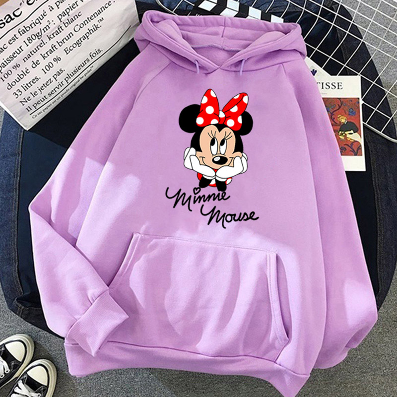 Disney Women Hoodies Minnie Mickey Mouse Hoodies Cartoon Tops Long Sleeve Pockets Sweatshirts Fashion Hooded Women 16