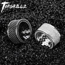 TOPGRILLZ مايكرو تمهيد مثلج خارج بلينغ AAA + مكعب الزركون جولة خواتم الهيب هوب روك مجوهرات النحاس المواد حلقة ل رجل المرأة