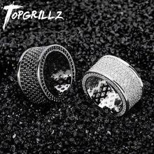 TOPGRILLZ マイクロパヴェアイスアウトブリンブリン Aaa + キュービックジルコンラウンドリングヒップホップロックジュエリー銅素材のため男性女性