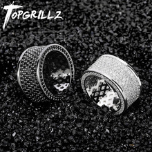 TOPGRILLZ Micro Pave Iced Out Bling AAA + Cubic Zircon Rodada Anéis de Hip Hop Rocha Jóias Material de Cobre Anel Para homem Mulheres
