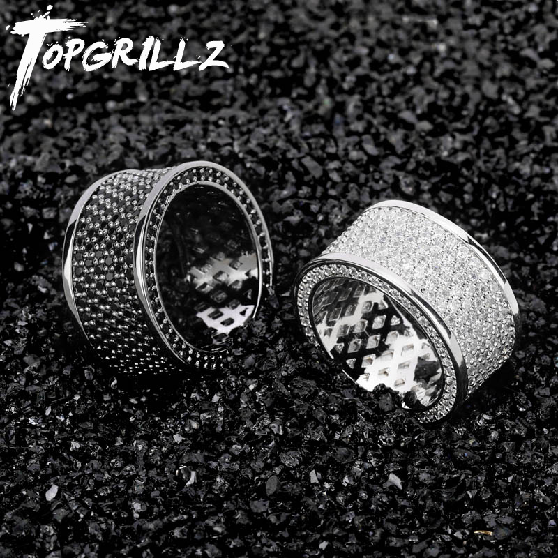 TOPGRILLZ Micro Pave Iced Out Bling AAA+ Cubic Zircon Round Rings Hip Hop Rock Jewelry Copper Material Ring For Man WomenRings   -