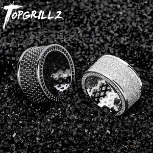 Image 1 - TOPGRILLZ Micro Pave Iced Out Bling AAA+ Cubic Zircon Round Rings Hip Hop Rock Jewelry Copper Material Ring For Man Women