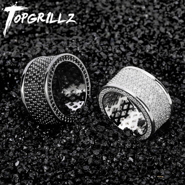 TOPGRILLZ Micro Pave Iced Out Bling AAA+ Cubic Zircon Round Rings Hip Hop Rock Jewelry Copper Material Ring For Man Women
