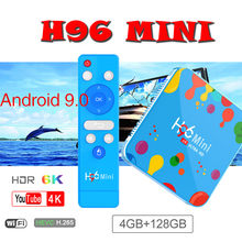 Set top box H96 MINI H6 android tv 4GB RAM 128GB H.265 6K smart media Player Youtube Top Box brasil h96 mini