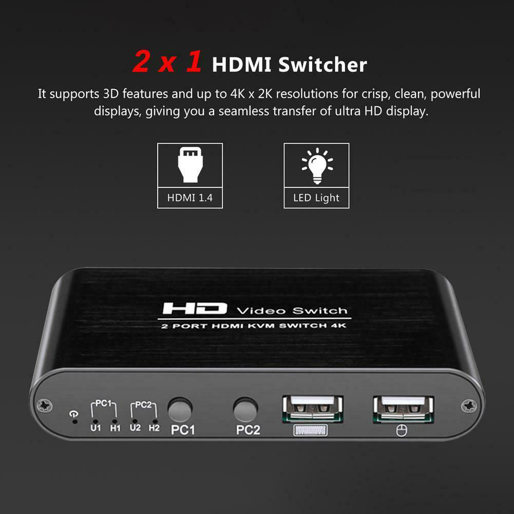 2 Port Mini High Speed Splitter KVM 4K HDMI Switcher Audio Plug And Play For Sharing Monitor Home Video Keyboard Mouse Mice