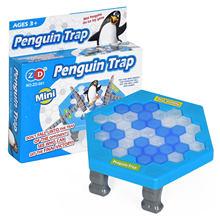 Mini pinguim armadilha pai-filho interativo entretenimento indoor jogo de tabuleiro brinquedos para criança família quebra bloco de gelo salvar pinguim