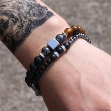 New Design Men Bracelet Fashion charm silver color Hematite Luxury tiger eye Beaded bracelets men Jewelry male gift pulseira