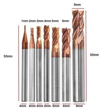DANIU прочный 1-8 мм 4 флейты карбида вольфрама Концевая фреза HRC55 AlTiN покрытие концевая фреза для ЧПУ инструмент