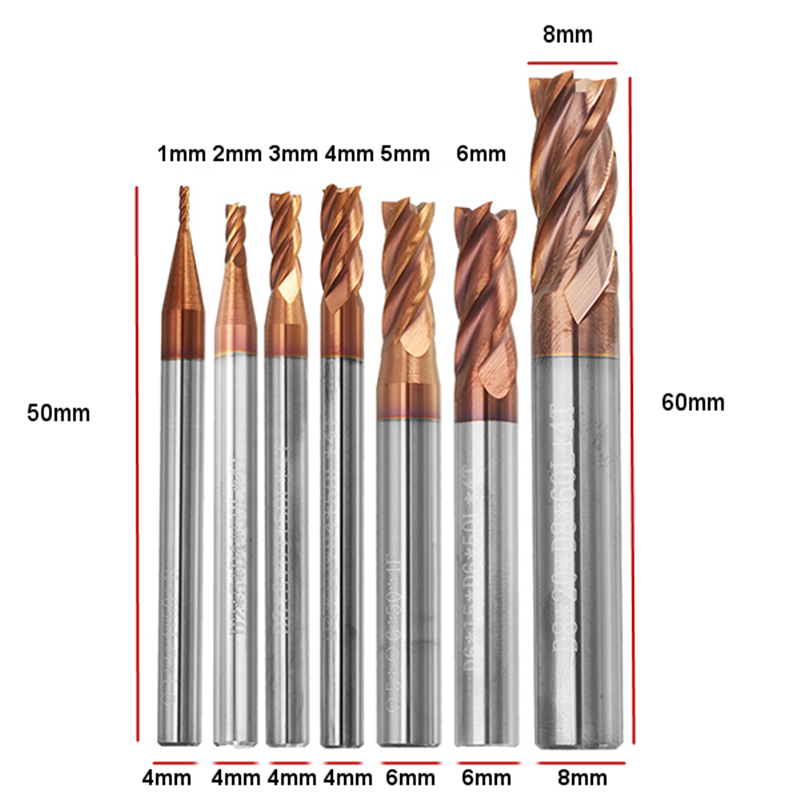 DANIU Durable 1-8mm 4 Flutes Tungsten Carbide End Mill Cutter HRC55 AlTiN Coating End Mill Cutter For CNC Tool