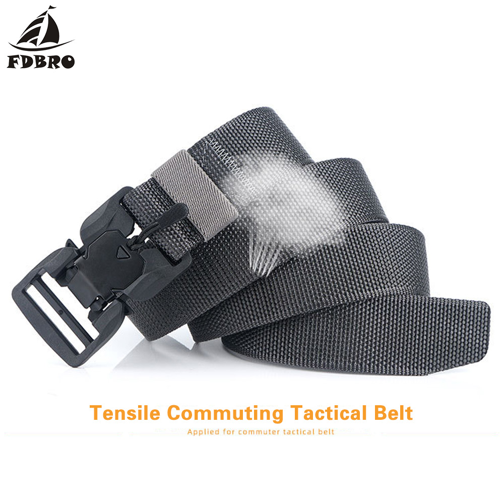 Ha3b9bd5da0e2492d9b8fc707a66802c12 - FDBRO Tactical Belt  Magnetic Buckle Adjustable Nylon Military Belt for Man Outdoor Hunting Training Accessories Utility Belt