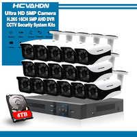 Sistema de Vigilancia 16CH 16 5MP cámara de seguridad al aire libre 16CH CCTV DVR Kit de videovigilancia iPhone Android Vista Remota