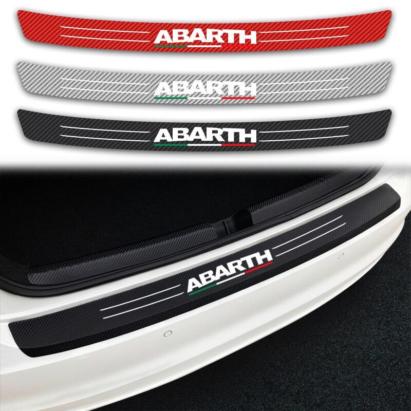 Tylny zderzak samochodowy Scuff ochronna pokrywa naklejki z włókna węglowego dla wszystkich Fiat Abarth 595 SS 695SS 500SS 500C PUNTO EVO OT1300 OT1600|Naklejki samochodowe|   -