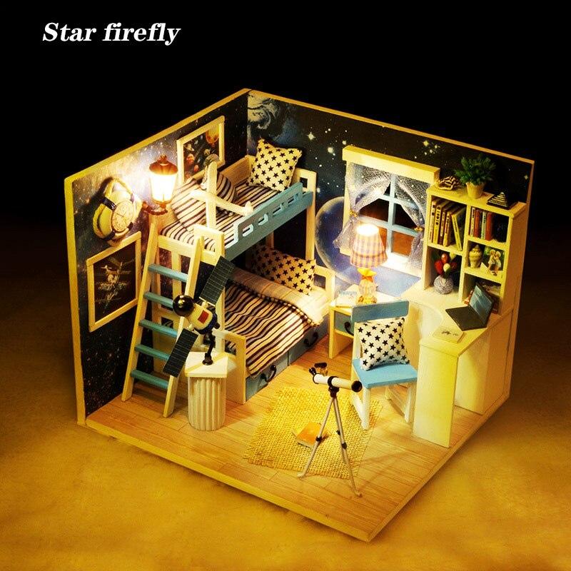 Звездный Светлячок мечта неба деревянный кукольный домик космический дом Миниатюрный DIY кукольный домик с мебелью игрушки для детей Подарк...