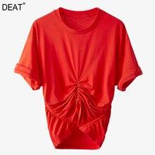[Deat] 女性黒は、不規則なtシャツ新ラウンドネック半袖スリムファッションエレガントな人格夏2021 7D1222
