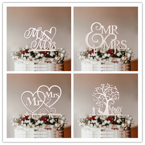 1pc Mr & Mrs Wooden Cake Toppers Hollow Letters Cakes Top Ornaments Engagement Home Party Decoration Supplies DIY Wedding Favors(China)