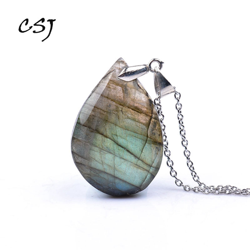 CSJ Natural Irregular Crystal Labradorite Pendants Moonstone Sunstone Necklace Divination Spiritual Meditation Fine Jewelry