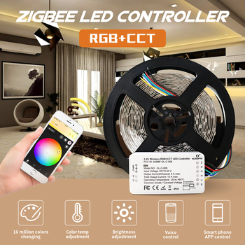 diy home smart zigbee strip controller work with amazon echo 5m 20 m set rgb 5050 led strip light non waterproof dc12v Zigbee ZLL DC24v smart LED Strip and rgb+cct ZIGBEE controller for RGB+CCT waterproof strip light work with Amazon echo plus