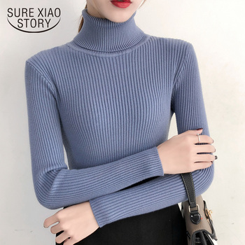 Women Sweaters and Pullovers Turtleneck Sweaters Fashion 2019 Autumn Winter Clothes Femal Solid Women Knit Sweater 6047 50