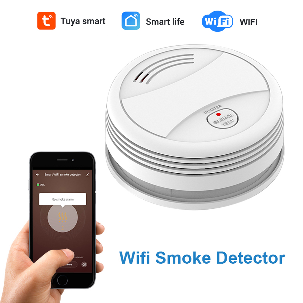 CPVan SM05W Tuya WiFi Smoke Detector Smart Life APP Fire Alarm Smoke Sensor WiFi Smoke Alarm Security Detector Include Battery
