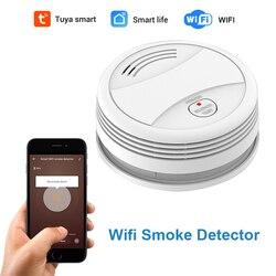 Detector de humo CPVan SM05W Tuya WiFi aplicación inteligente alarma de fuego Sensor de humo WiFi alarma de humo Detector de seguridad incluye batería