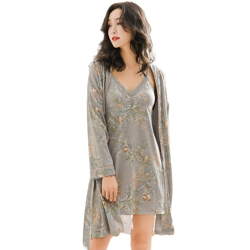 Sexy Nightgown Robe Set Women Lingerie With Robe Grey Floral 100% Pure Cotton V-neck Lace Trim Gowns+Belted Kimono Bathrobe Set