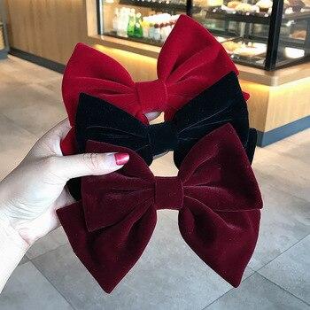 Korea Velvet Big Bow Hairpin Female Sweet INS Hair Accessories Women Girls Ponytail Clip Temperament Top Headdress
