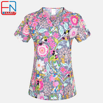 1908 NEW Hennar Women Scrub Top With V-Neck 100% Cotton Print Surgical Medical Uniforms Hospital Nurse Scrub Tops For Women - DISCOUNT ITEM  0% OFF All Category