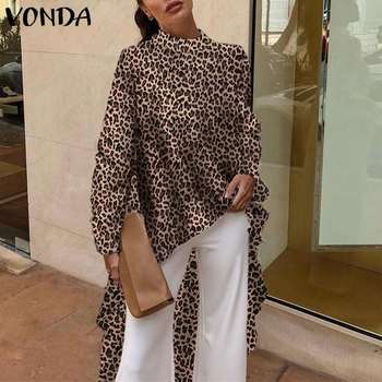 цена на 2020 VONDA Tunic Women Long Shirt Blouses Vintage Long Sleeve Leopard Print Blouse Office Asymmetrical Blusas Top Plus Size