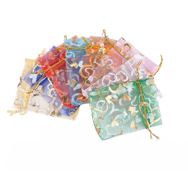 10pcs/lot Mixed Color Drawstring Bags Organza Gifts Bags Christmas Candy Bags Party Wedding Favors Packaging Pouch