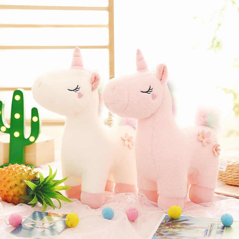 30CM רך חד קרן קטיפה צעצוע תינוק ילדים לפייס קשת שינה כרית בובת בובת פרווה צעצוע יום הולדת מתנות עבור בנות ילדים
