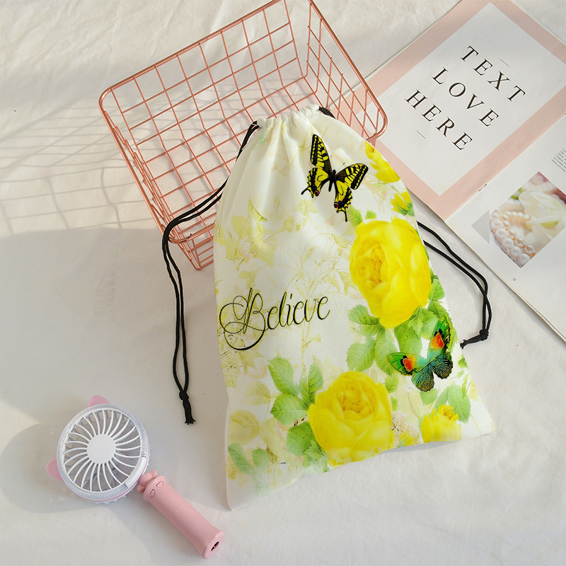 Butterfly Printing Speed Pocket Customize Women Traveling Shoulder Bags Mochila Travel Printing Bag Draw String Bags