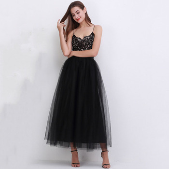 4 Layers 100cm Floor length Skirts for Women Elegant High Waist Pleated Tulle Skirt Bridesmaid Ball Gown Bridesmaid Clothing 2