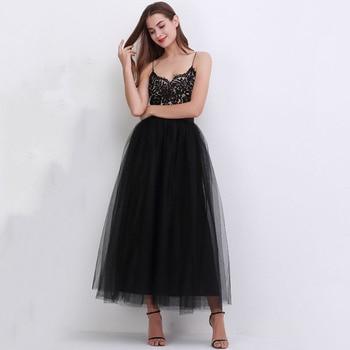 4 Layers 100cm Floor length Skirts for Women Elegant High Waist Pleated Tulle Skirt Bridesmaid Ball Gown Bridesmaid Clothing 2